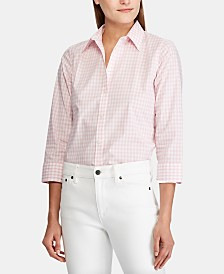 Lauren Ralph Lauren Button Down Non-Iron ¾ Sleeve Shirt