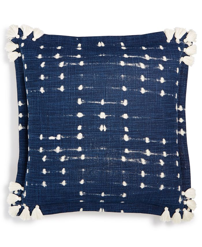 """Tommy Hilfiger - Printed Tassel 18"""" Square Decorative Pillow"""