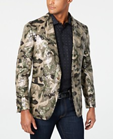 Tallia Men's Slim-Fit Olive/Brown Camouflage Sequin Sport Coat