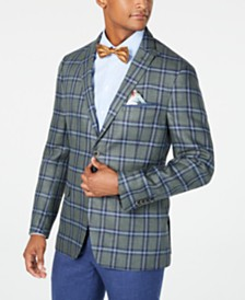 Tallia Men's Slim-Fit Navy/Green Plaid Sport Coat