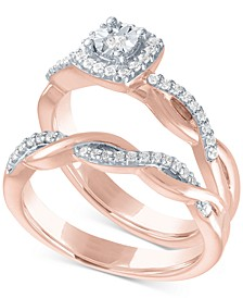 Diamond Bridal Set (1/4 ct. t.w.) in 14k Rose Gold Over Sterling Silver