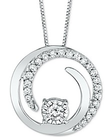 """Diamond Spiral 18"""" Pendant Necklace (1/4 ct. t.w.) in 14k White Gold (Also available in Yellow Gold)"""