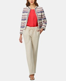 Tahari ASL Bouclé Jacket, Pleated Blouse & Wide-Leg Pants