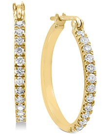 EFFY® Diamond Hoop Earrings (1/2 ct. t.w.) in 14k Gold