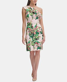 Tommy Hilfiger Floral One-Shoulder Scuba Dress