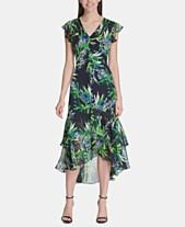 b76e02d6b8c Tommy Hilfiger Floral Chiffon High-Low Maxi Dress