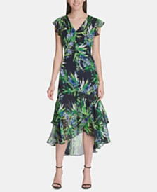 Tommy Hilfiger Floral Chiffon High-Low Maxi Dress