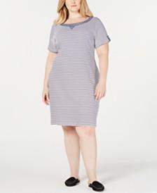 Karen Scott Plus Size Chambray Trim Dress, Created for Macy's