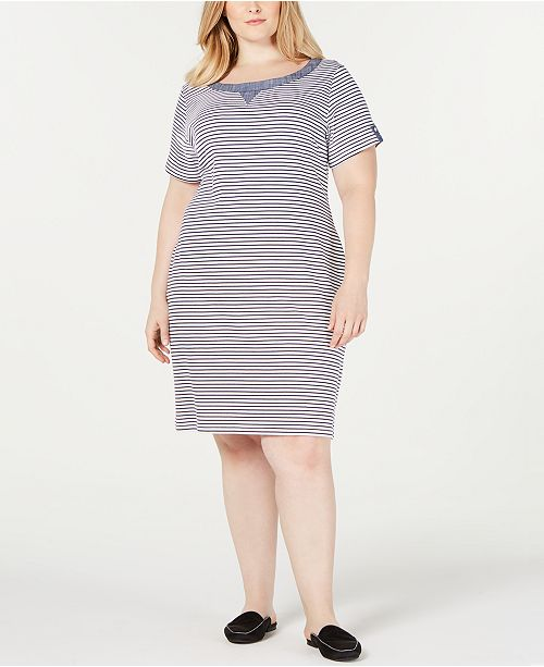 Plus Size Chambray Trim Dress, Created for Macy\'s
