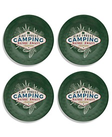 Vintage Lodge Camping Salad Plate, Set of 4