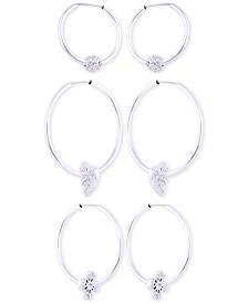 GUESS Silver-Tone 3-Pc. Set Pavé Charm Hoop Earrings