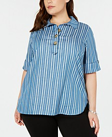 Plus Size Striped Cuffed-Sleeve Top