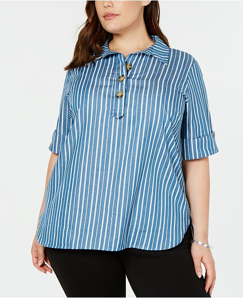NY Collection Plus Size Striped Cuffed-Sleeve Top