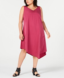 Eileen Fisher Plus Size Tencel Asymmetrical Dress