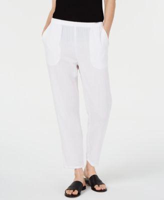 Crinkle Tapered Pull-On Pants, Regular & Petite