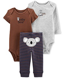 Baby Boys 3-Pc. Koala Cotton Bodysuits & Pants Set
