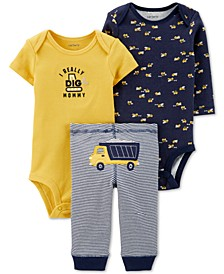 Baby Boys 3-Pc. Dump Trunk Graphic Cotton Bodysuits & Pants Set