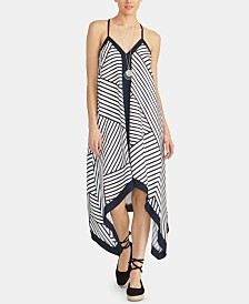 RACHEL Rachel Roy Maddelena Sleeveless Striped Handkerchief-Hem Dress