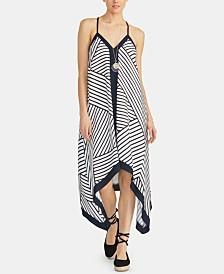 RACHEL Rachel Roy Maddelena Sleeveless Striped Handkerchief-Hem Dress