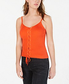 Juniors' Lace-Up Ribbed Sweater Tank Top