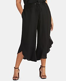 RACHEL Rachel Roy Trendy Plus Ruffled Cropped Pants