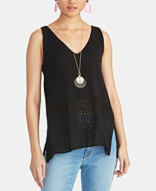 Tasha Sleeveless Open-Knit Sweater Top