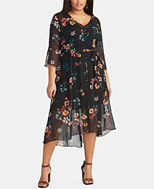 RACHEL Rachel Roy Trendy Plus Size Floral High-Low Midi Dress