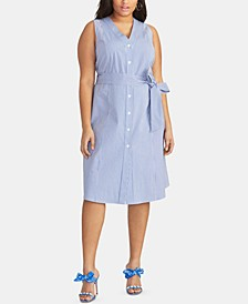 Trendy Plus Size  Cotton Striped Seersucker Dress
