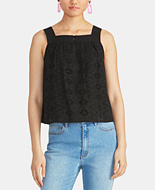 RACHEL Rachel Roy Caterina Cropped Cotton Eyelet Top