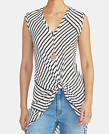 Miabella Twisted Striped High-Low Top