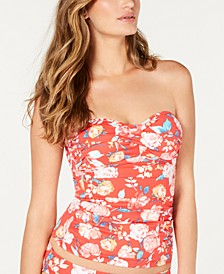 Floral Twist-Front Bandeau Tummy Control Tankini Top