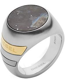 Diesel Men's Stainless Steel and Labradorite Stone Signet Ring
