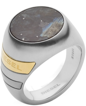Diesel Accessories MEN'S STAINLESS STEEL AND LABRADORITE STONE SIGNET RING