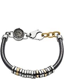 Men's Stainless Steel and Gray Nylon Cord Bracelet