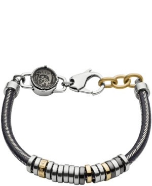 Diesel Accessories MEN'S STAINLESS STEEL AND GRAY NYLON CORD BRACELET