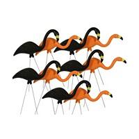 10-Pack Bloem Spooky Flamingo Plastic Halloween Yard Decor (Orange and Black)