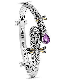 Sweet Dragonfly Classic Sterling Silver Bangle Embellished by 18K Gold Accents on 4 Strips of Dragonfly's Wings and Amethyst