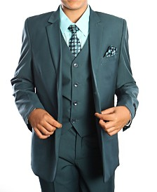 Solid 2 Button Vested Boys Suit, 5 Piece
