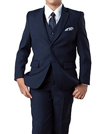 Solid 2 Button Front Closure Boys Suit, 5 Piece