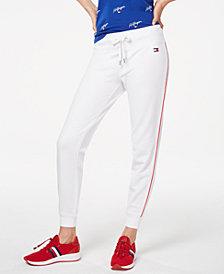 Tommy Hilfiger Sport Side-Stripe Ribbed-Cuff Sweatpants