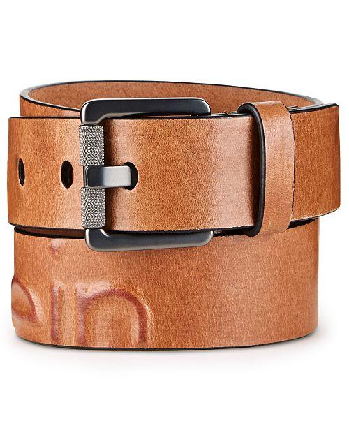 Calvin Klein Men's Debossed Leather Belt