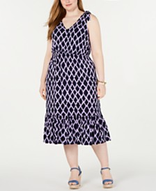 MICHAEL Michael Kors Plus Size Printed Tie-Shoulder Midi Dress