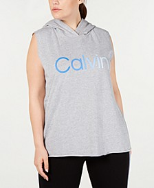 Plus Size Ombré-Logo Sleeveless Hoodie