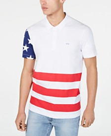 A|X Armani Exchange Men's Regular-Fit Colorblocked Stars & Stripes Polo  Created For Macy's