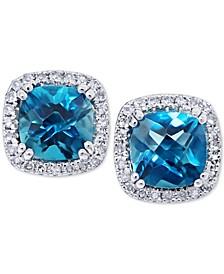 London Blue Topaz (2 ct. t.w.) & Diamond (1/5 ct. t.w.) Stud Earrings in 14k White Gold