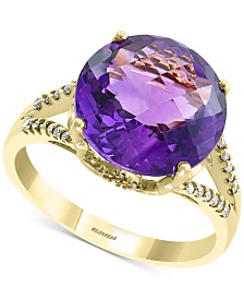 EFFY® Amethyst (5-1/5 ct. t.w.) & Diamond (1/8 ct. t.w.) Statement Ring in 14k Gold