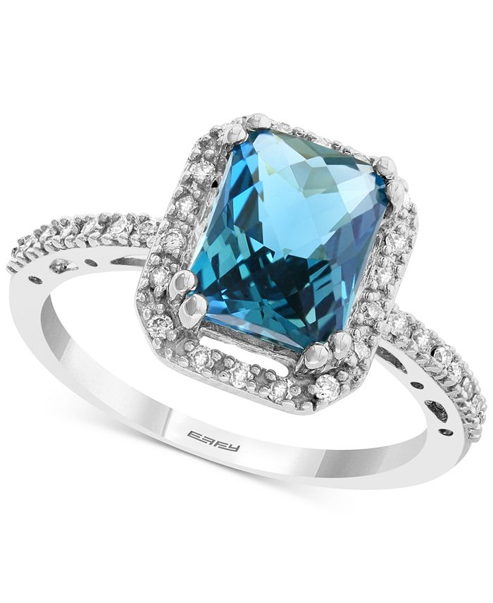 EFFY Collection - Blue Topaz (2-5/8 ct. t.w.) & Diamond (1/6 ct. t.w.) Statement Ring in 14k White Gold
