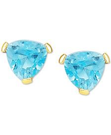 Blue Topaz Triangle Stud Earrings (1 ct. t.w.) in 14k Gold