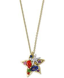 "EFFY® Multi-Sapphire (3/4 ct. t.w.) & Diamond Accent Starfish 18"" Pendant Necklace in 14k Gold"