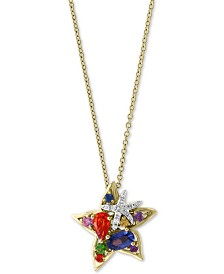 "EFFY® Multi-Sapphire (3/4 ct. t.w.) & Diamond Accent Starfish 18"" Pendant Necklace in 14k Gold"